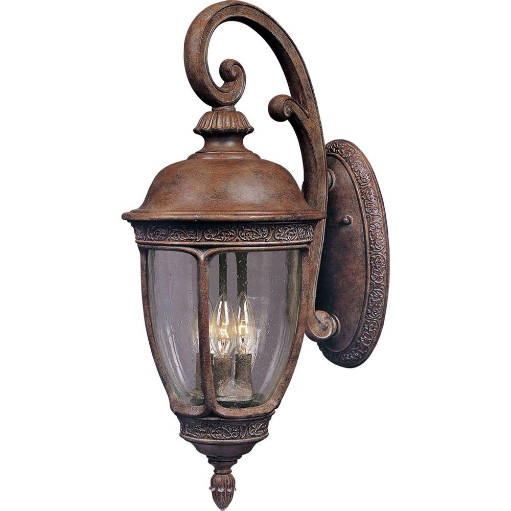 Maxim Lighting Knob Hill DC-Outdoor Wall Lantern Sconce Knob Hill Cast is a traditional, European style collection from Maxim Lighting International in Sienna finish with Seedy glass.