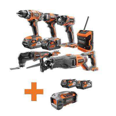 18-Volt Lithium-Ion Cordless Combo Kit (6-Tool) (2) 4Ah Batt and Charger w/Bonus Jobsite Radio and (2) 4Ah Batteries