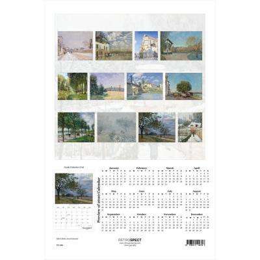 19 in. H x 12.5 in. W Alfred Sisley - 2019 Calendar