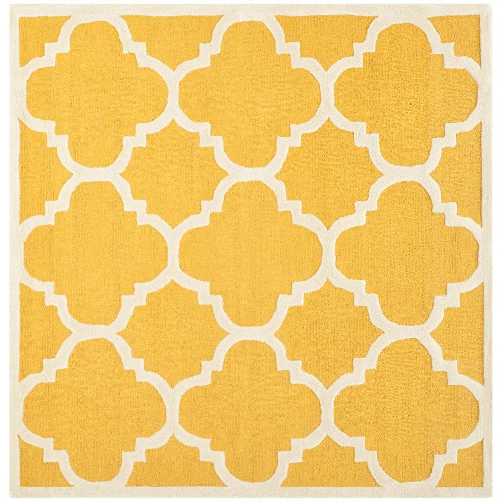 Cambridge Gold/Ivory 4 ft. x 4 ft. Square Area Rug