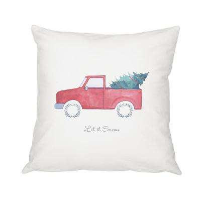 16 in. Christmas Throw Pillow with Christmas Tree Truck Design
