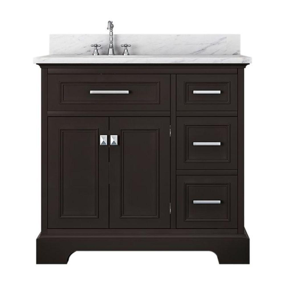 Alya Bath Yorkshire 37 in. W x 22 in. D Bath Vanity in Espresso with Marble Vanity Top in White with White Basin