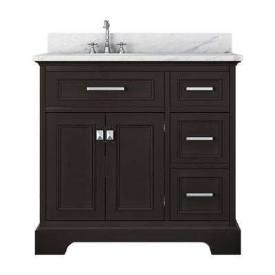 Yorkshire 37 in. W x 22 in. D Bath Vanity in Espresso with Marble Vanity Top in White with White Basin