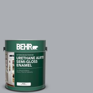 1 gal. #AE-50 Gray Cast Urethane Alkyd Semi-Gloss Enamel Interior/Exterior Paint
