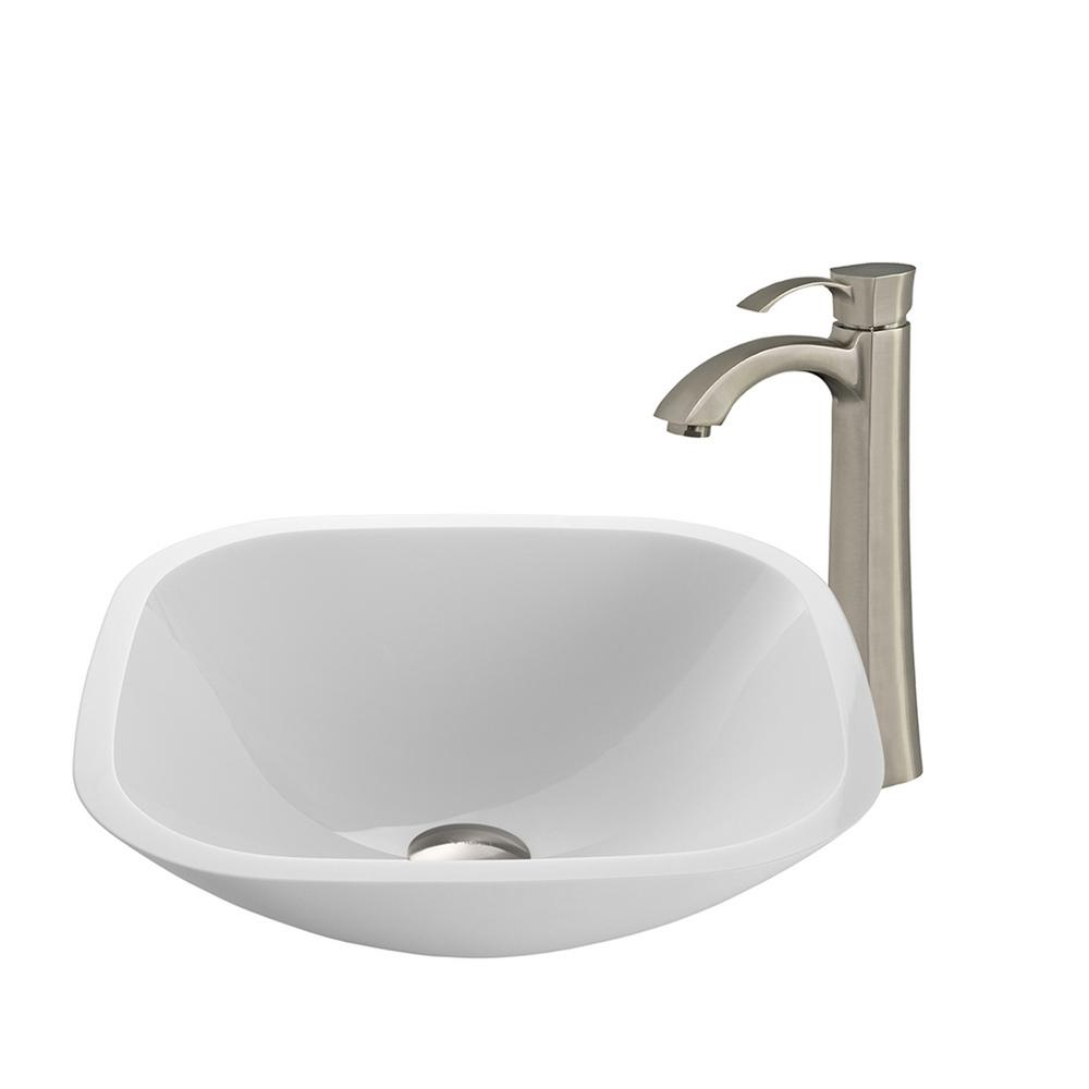 VIGO Square Shaped Stone Glass Vessel Sink in White Phoenix and Faucet in Brushed Nickel