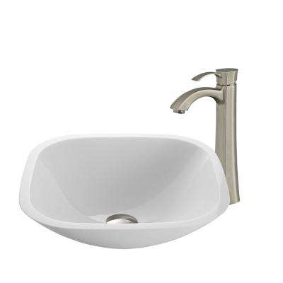 Square Shaped Stone Glass Vessel Sink in White Phoenix and Faucet in Brushed Nickel