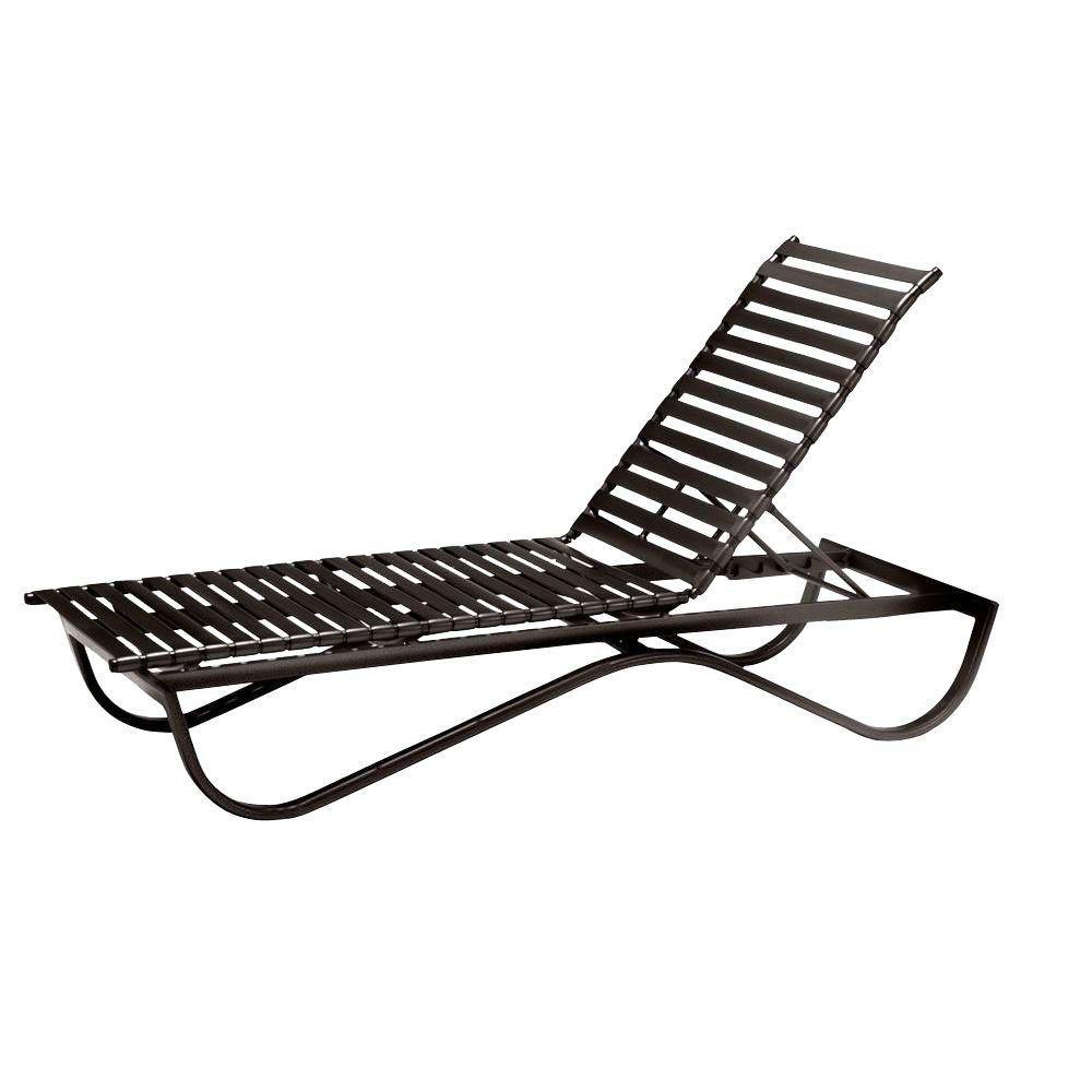 Tradewinds Scandia Java Commercial Strap Stackable Patio Chaise Lounge