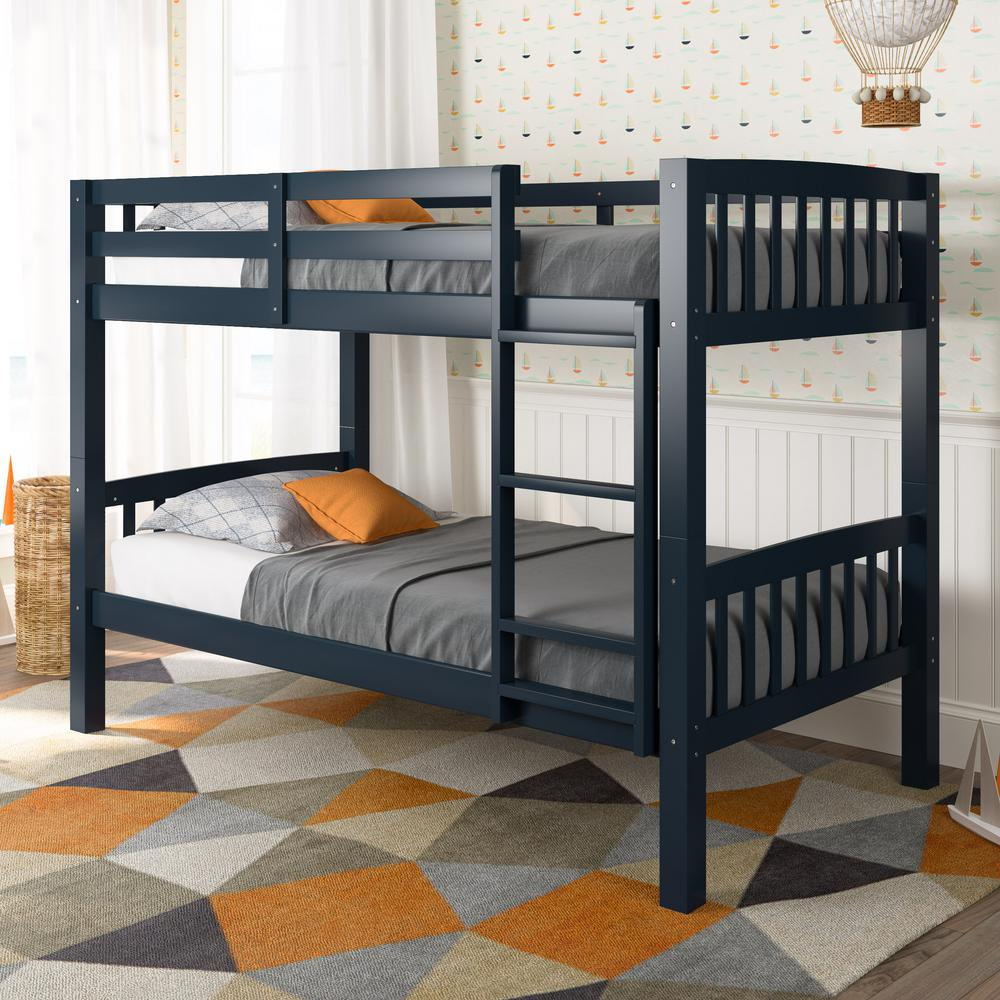 Corliving dakota navy blue twin single bunk bed bdn 220 b for Single bunk bed