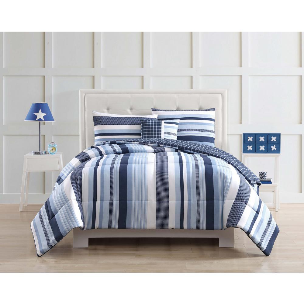 Mason Stripe Blue Twin Comforter Set
