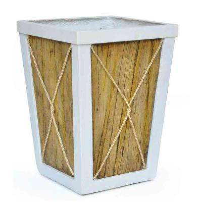 14.5 in. sq. White on Wood Composite Planter with Rope