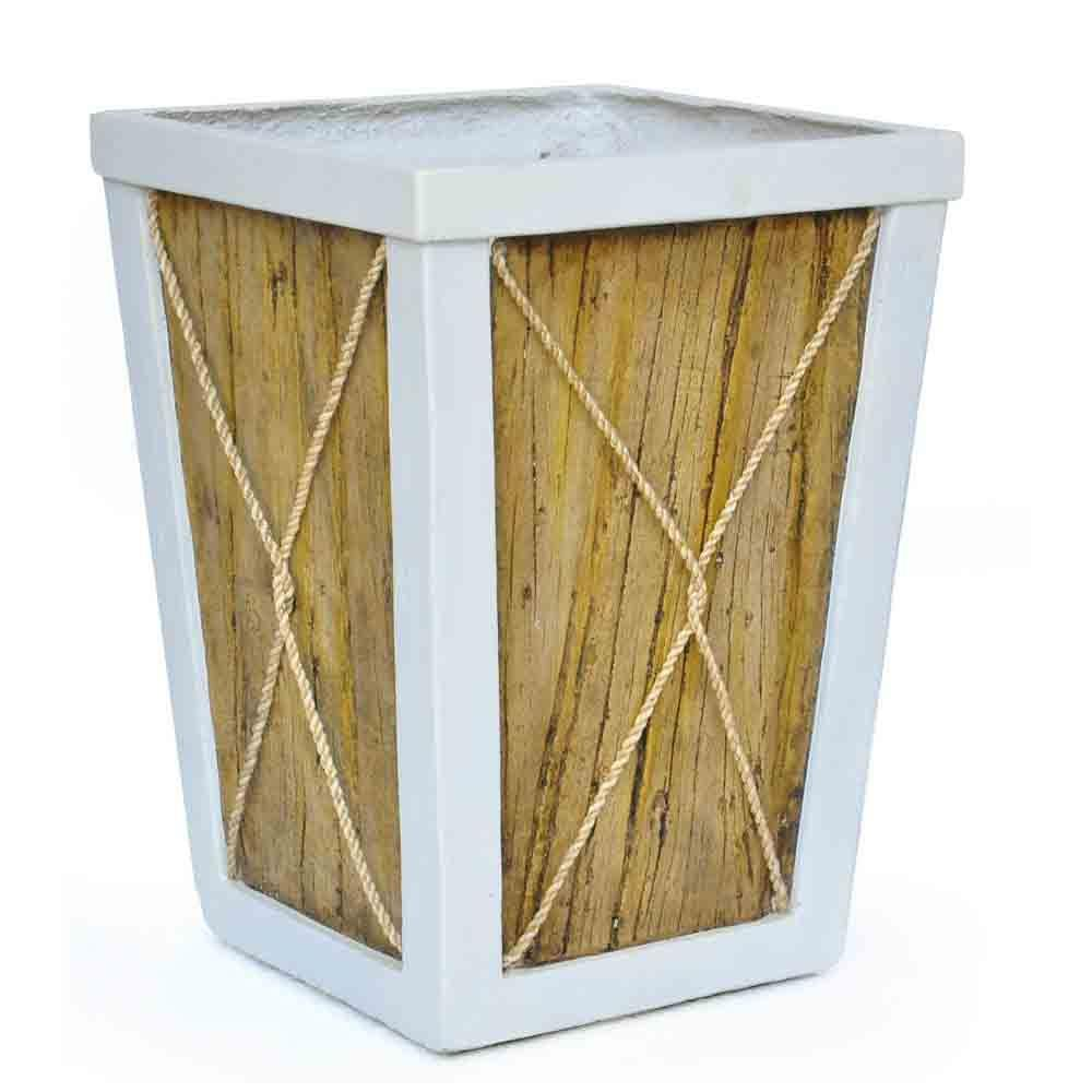 14.5 in. sq. White on Wood Composite Planter with Rope, B...