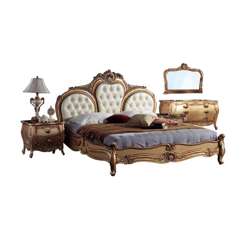 5 Piece Gold Gany Queen Bedroom Set, European Queen Bed Frame