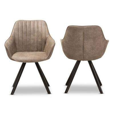 Blanford Light Brown Fabric Dining Chair (Set of 2)