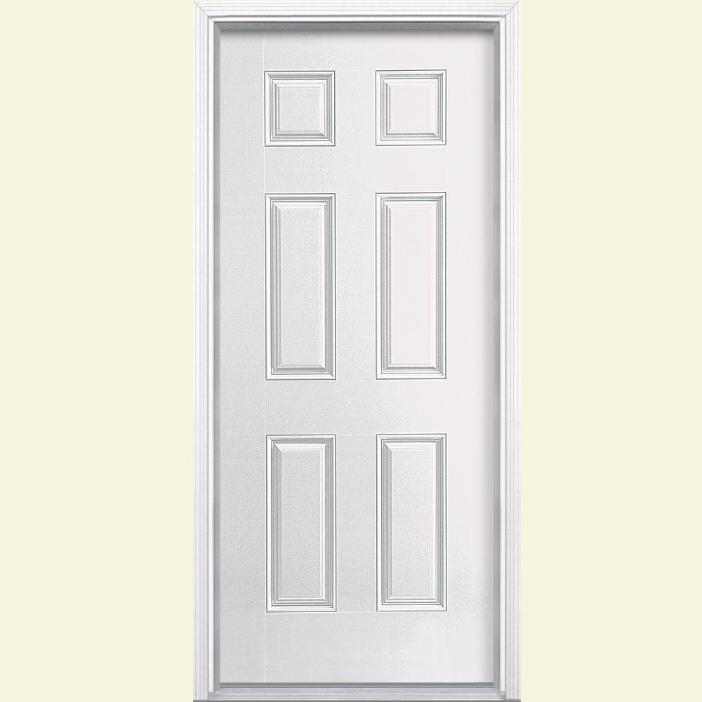 6 panel right hand inswing primed white smooth fiberglass prehung front door with brickmold 45708 the home depot
