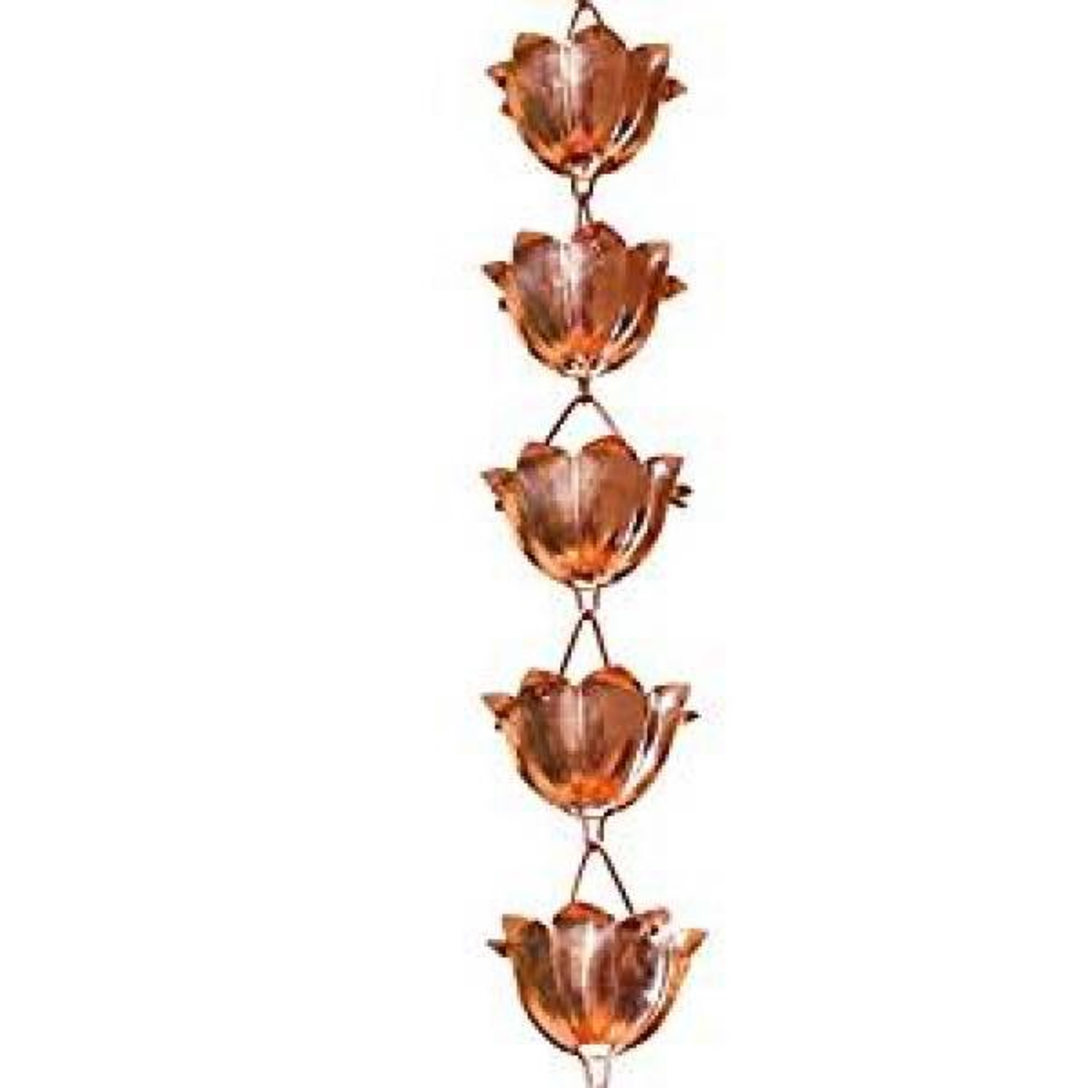Pure Copper Lotus Rain Chain Extension Monarch Rain Chains 3-ft
