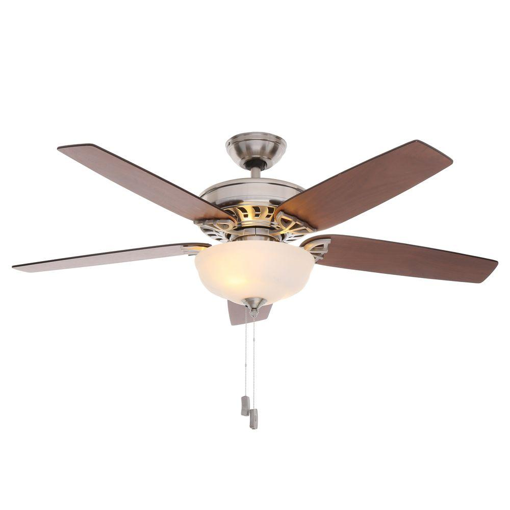Ceiling Fans With Light: Hampton Bay Middleton 42 In. Indoor Brushed Nickel Ceiling
