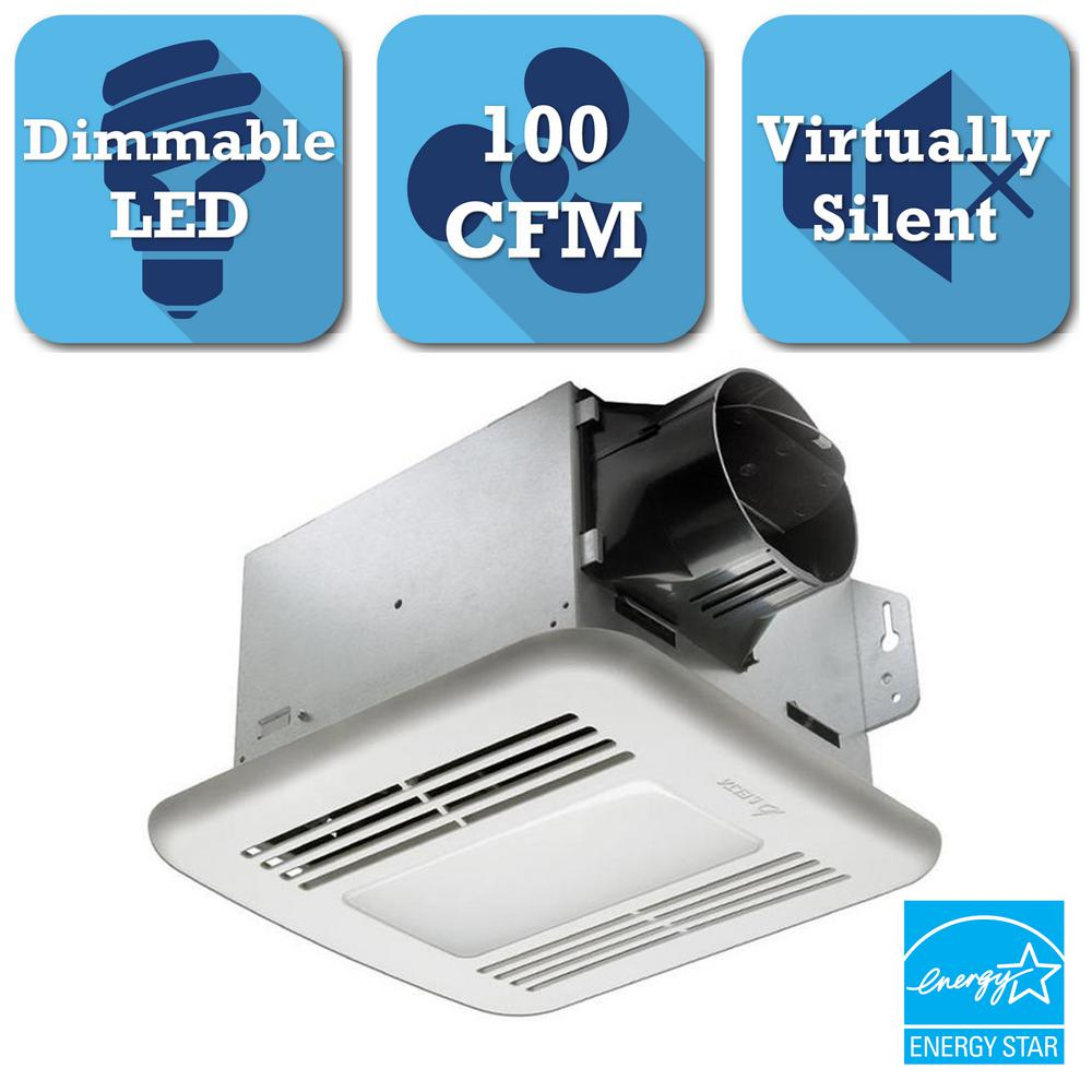 Delta Breez GreenBuilder Series 100 CFM Ceiling Bathroom Exhaust Fan With  Dimmable LED Light