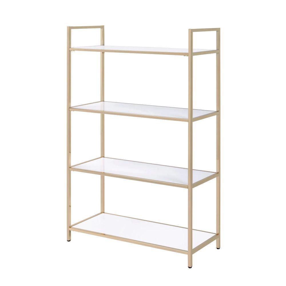 Tubular 60 in. Height White and Gold Metal with Wooden Open Shelves Framed Bookshelf
