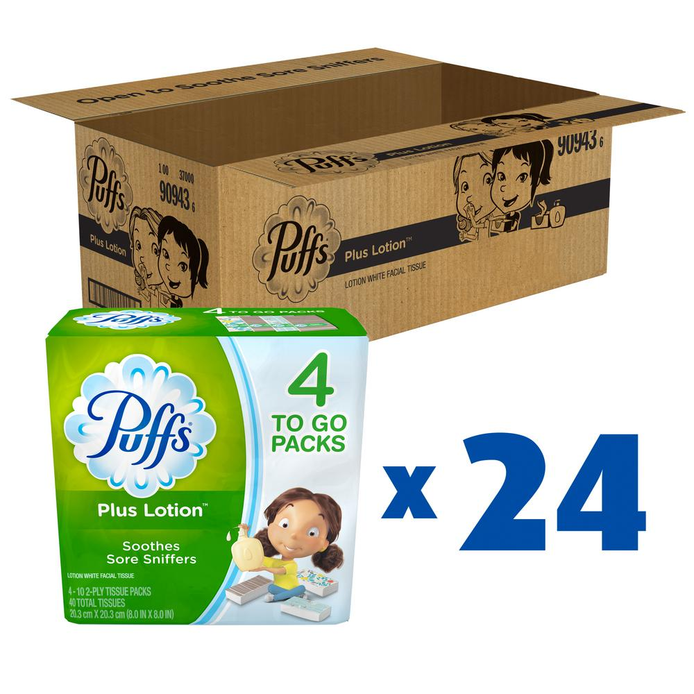 Puffs Plus Lotion 2-Ply Facial Tissue (10-Count) (4-Pack) (24 Case)