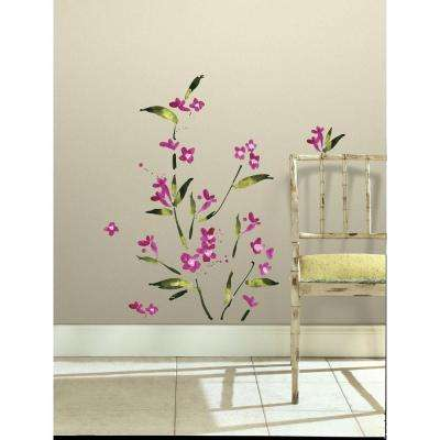 5 in. x 11.5 in. Fuchsia Flower Arrangement Peel and Stick Wall Decals