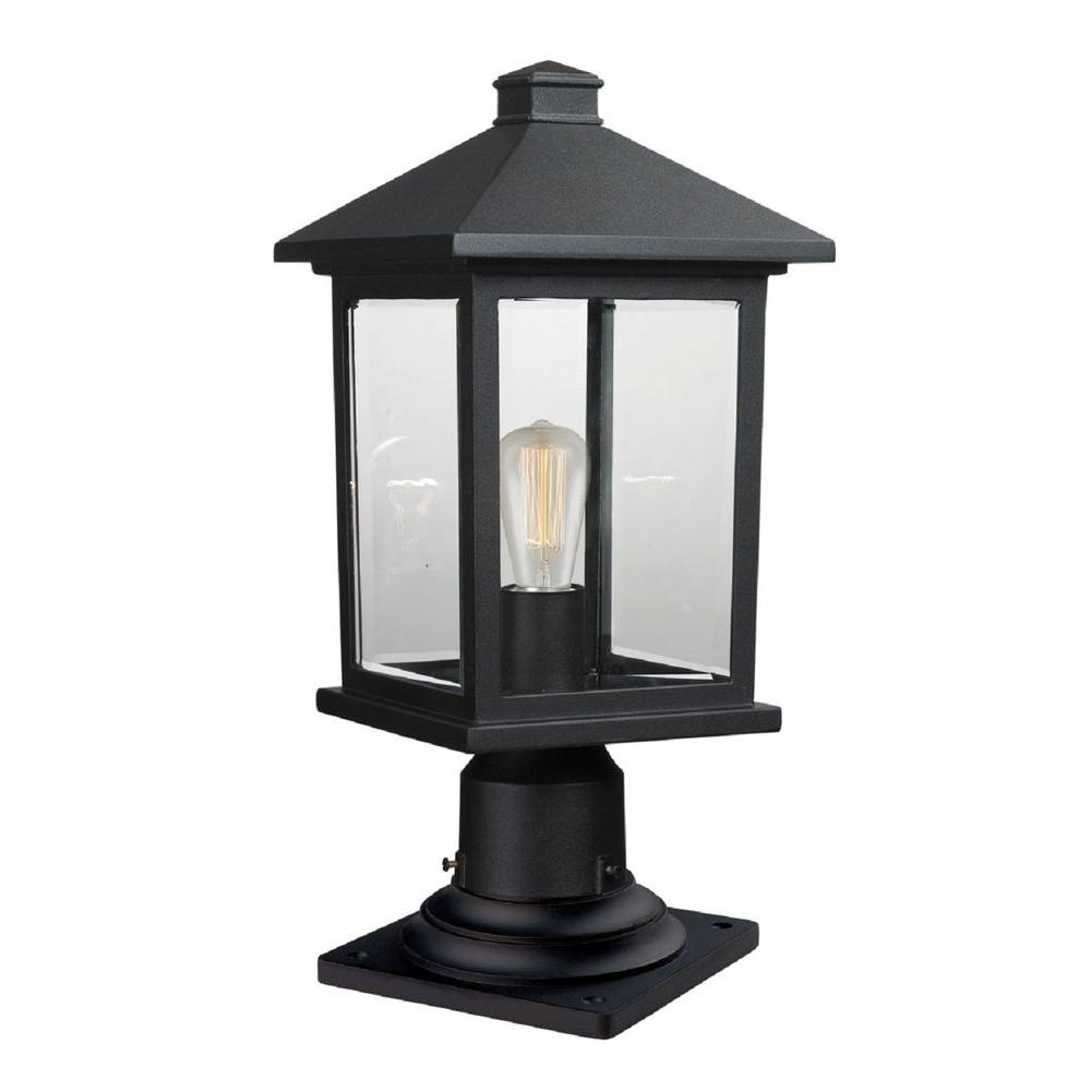 Malone 1-Light Black Outdoor Pier Mount