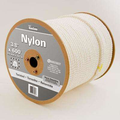 3/8 in. x 600 ft. Twisted Nylon Rope, White Color Reeled
