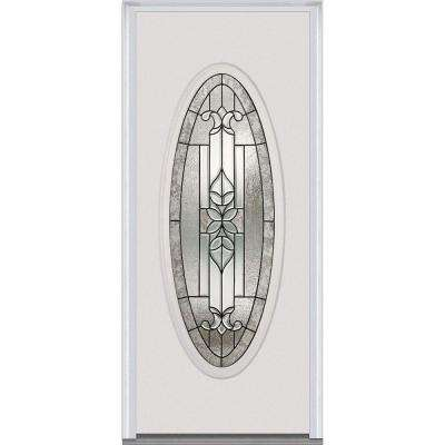 30 in. x 80 in. Cadence Right-Hand Inswing Oval Lite Decorative Painted Steel Prehung Front Door