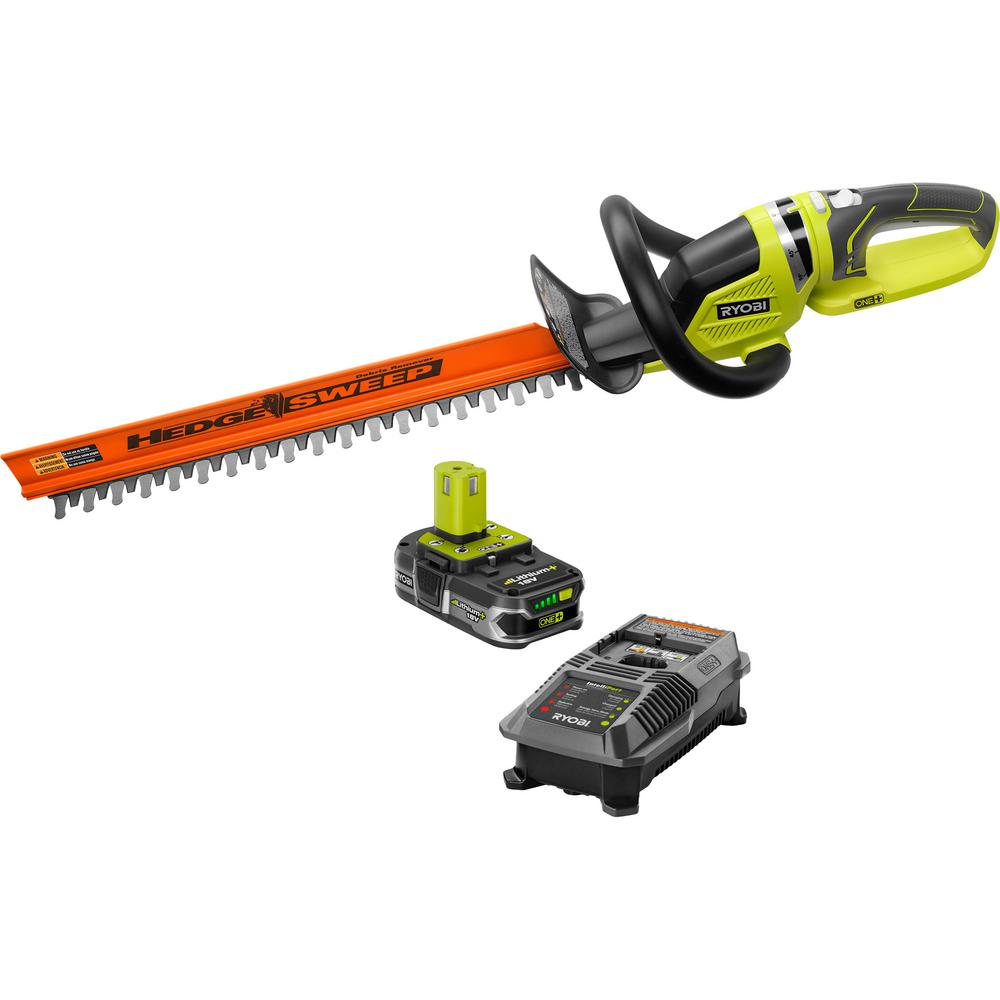 RYOBI ONE+ Lithium+ 22 in. 18-Volt Lithium-Ion Cordless Hedge Trimmer - 1.5 Ah Battery and Charger Included