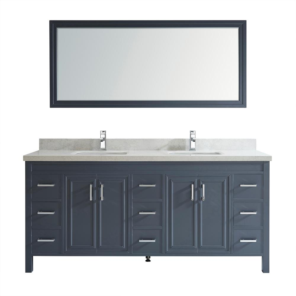 Studio Bathe Dawlish 75 in. W x 22 in. D Vanity in Pepper Gray with Marble Vanity Top in Gray with White Basin and Mirror