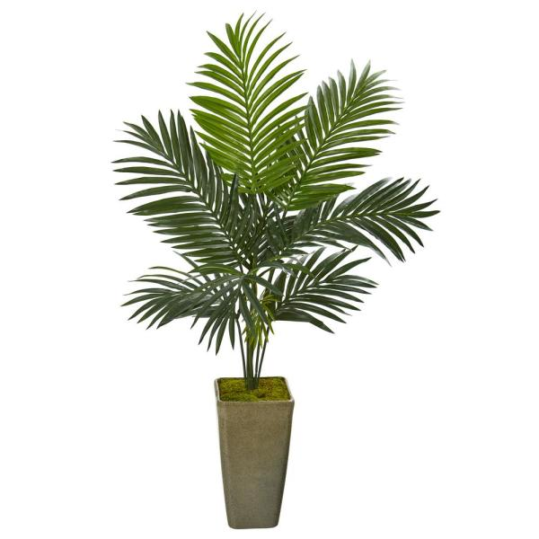 Nearly Natural 50 in. Kentia Artificial Palm Tree in Green Planter