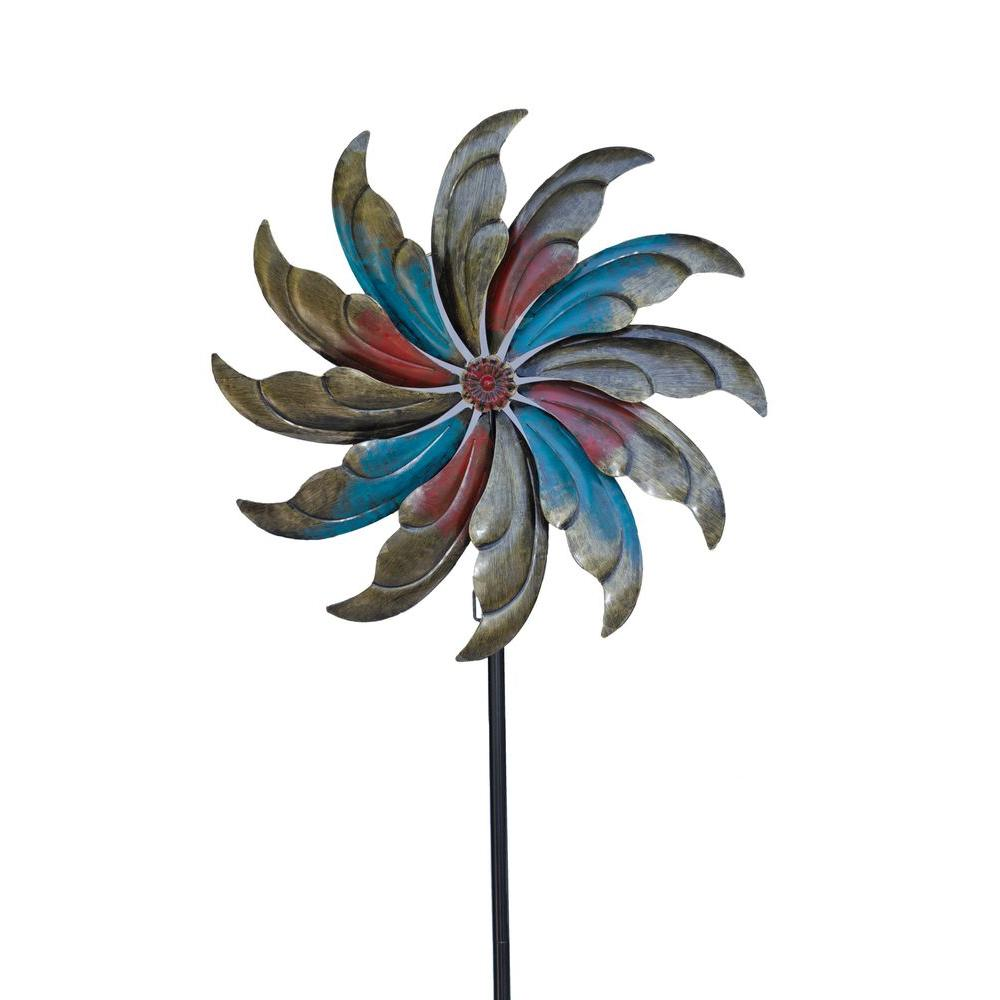 Hollis Wood Products Pinwheel 23.5 in. x 84 in. Steel Kinetic Decorative Wind Art Spinner