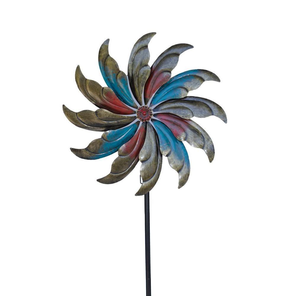 Pinwheel 23.5 in. x 84 in. Steel Kinetic Decorative Wind Art Spinner