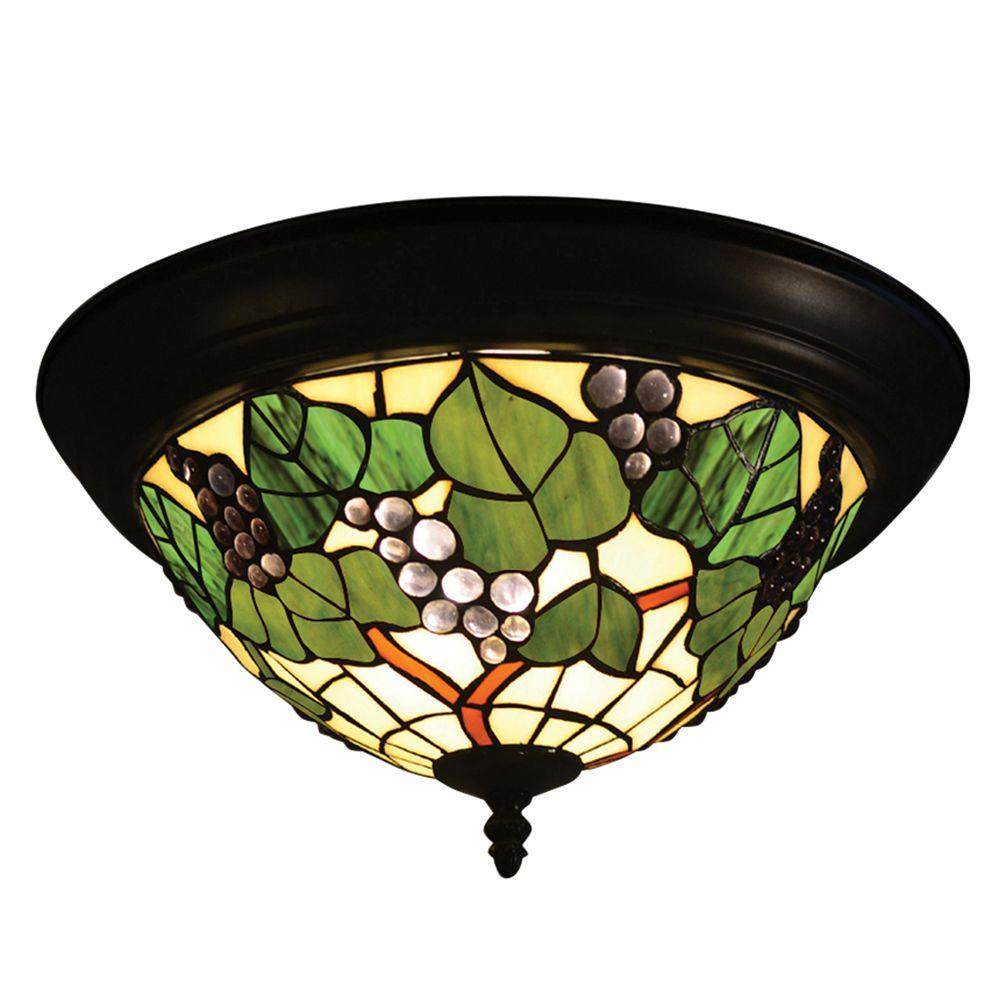 Grape 2-Light Tiffany Bronze Semi Flush Mount