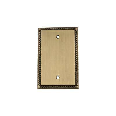 Rope Switch Plate with Blank Cover in Antique Brass