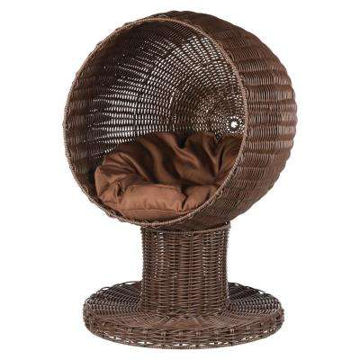 Brown Rattan Cat Cave With Cozy Cushion, Medium