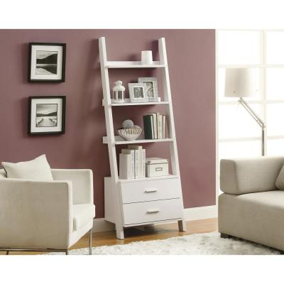 69 in. White Faux Wood 4-shelf Ladder Bookcase with Drawers
