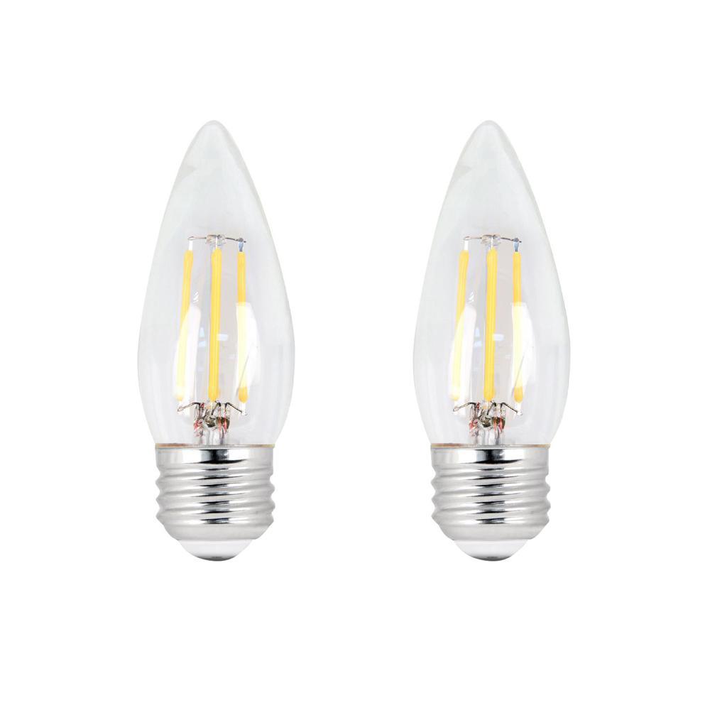 60-Watt Equivalent B10 E26 Base Dimmable Filament CEC ENERGY STAR 90 CRI Chandelier LED Light Bulb, Soft White (2-Pack)