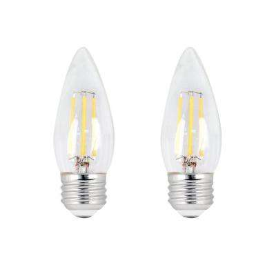60W Equivalent B10 Candelabra Dimmable Filament CEC Title 20 Clear Glass Chandelier LED Light Bulb, Soft White (2-Pack)