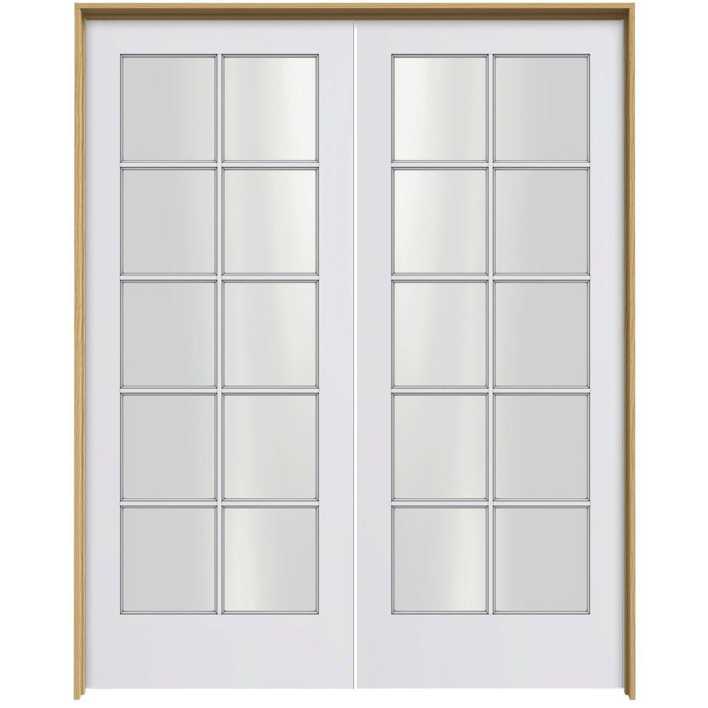 JELD-WEN Smooth 10-Lite Primed Pine Prehung Interior French Double Door with Pine Jamb-DISCONTINUED