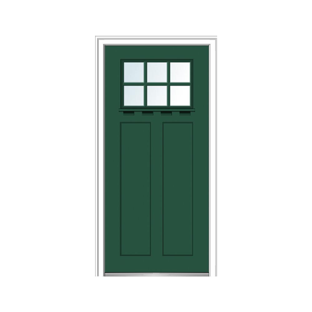 Mmi door 32 in x 80 in clear lowe glass 6 lite hunter green