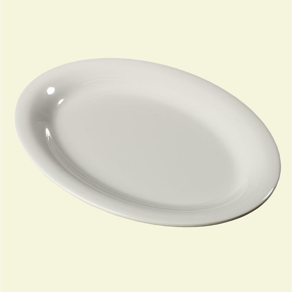 9 in. x 12 in. Melamine Oval Platter in Bone (Case