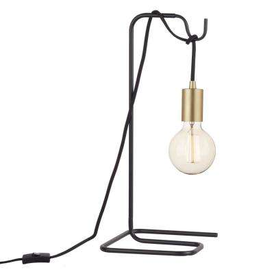 Designer Series 18 in. Black Table Lamp with Black Fabric Cord and Brass Exposed Socket