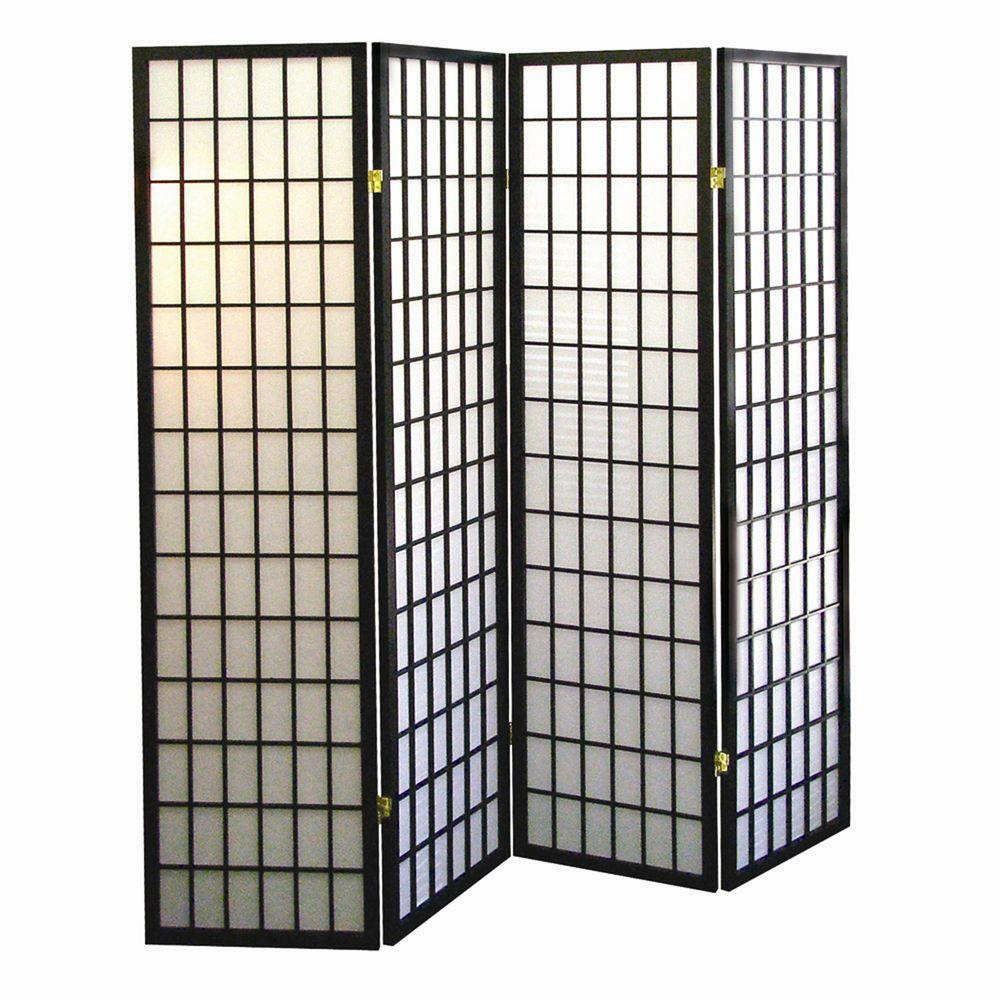 Home Decorators Collection 5.83 ft. Black 4-Panel Room Divider