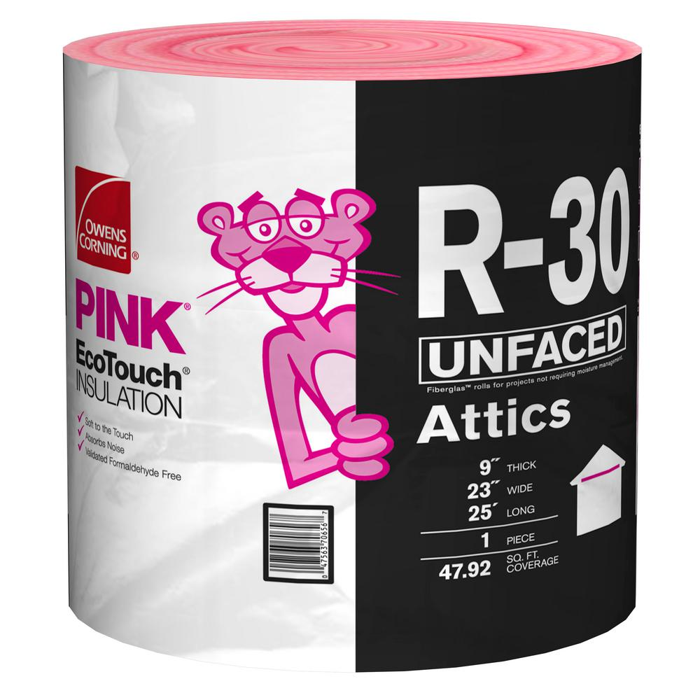Owens Corning R-30 Unfaced Insulation Continuous Roll 23 in. x 25 ft.