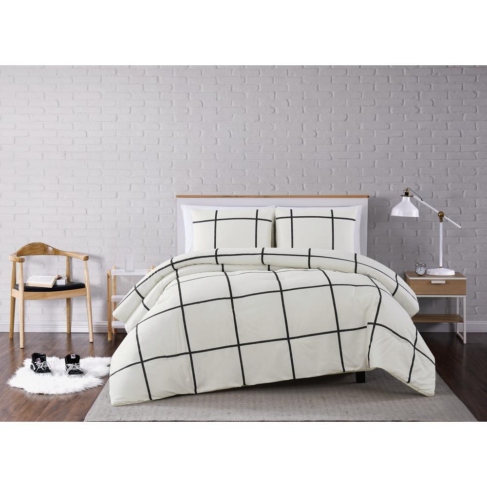 Kurt Windowpane Ivory and Black Full/Queen 3-Piece Comforter Set