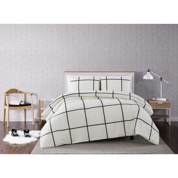 Kurt Windowpane Ivory and Black King 3-Piece Comforter Set