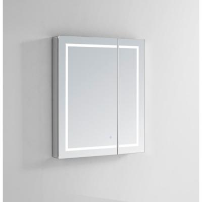 Royale Plus 30 in W x 30 in. H Recessed or Surface Mount Medicine Cabinet with Bi-View Door,LED Lighting,Mirror Defogger