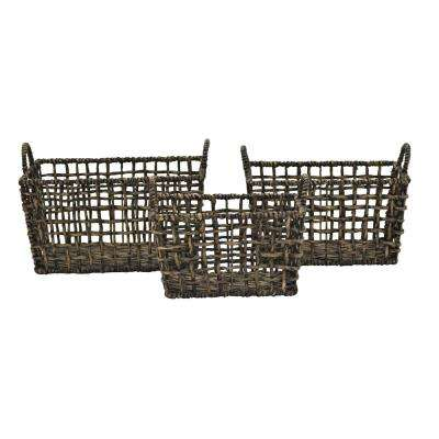 18.5 in. x 12.5 in. Water Hyacinth Baskets (Set of 3)