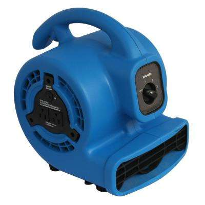 600 CFM 3-Speed Multi-Purpose Mini Mighty Air Mover Utility Blower Fan with Power Outlets
