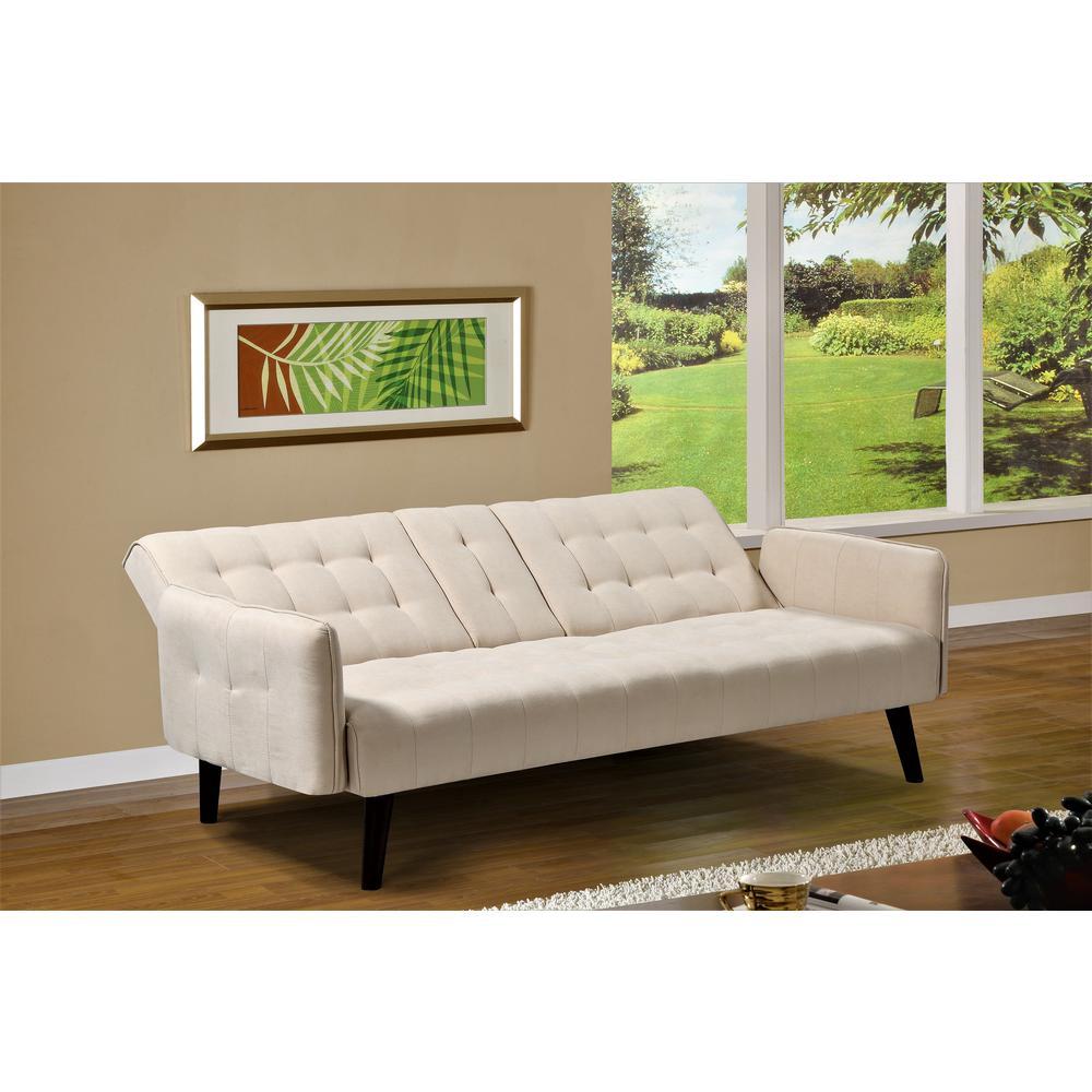 Convertible Beige Sofa Bed Sleeper